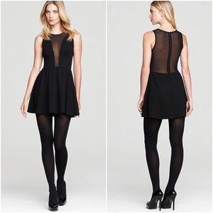 For Love & Lemons Black Mesh Knit Fit Flare Dress
